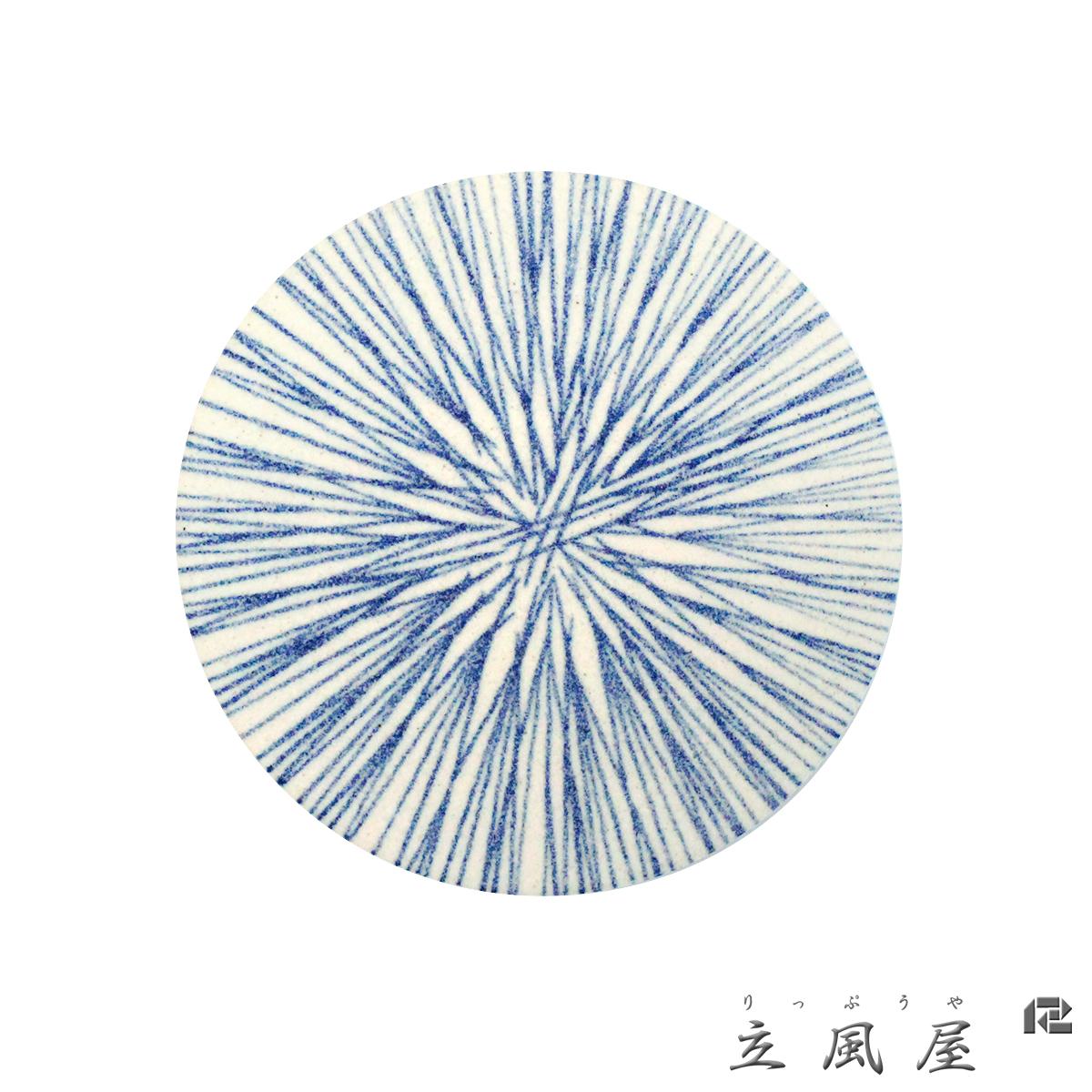 立風屋 珪藻土コースター 藍文様シリーズ 十草 (とくさ)rpcs-wt-16101-01_c01